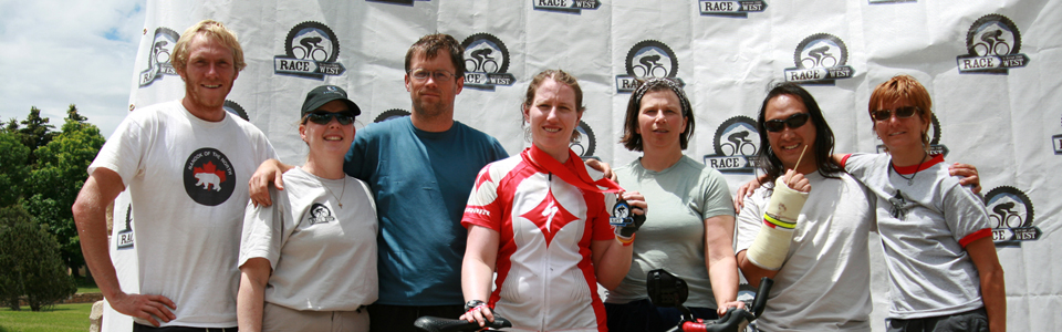 Joan and crew at the finish of  2011 Race Across The West